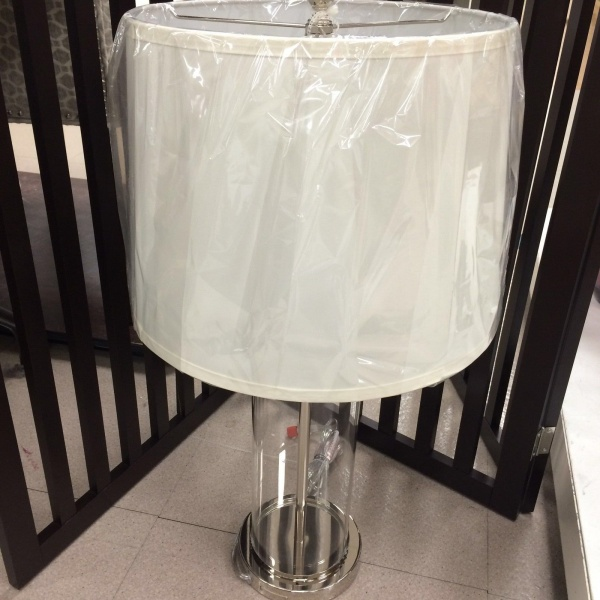 b4815c1d2c08 1) LAUREN RALPH PAYTON SILVER CLEAR GLASS CYLINDER TABLE LAMP ~New ...