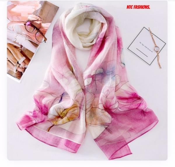 Fashion Style Printed Silk Wool Scarf
