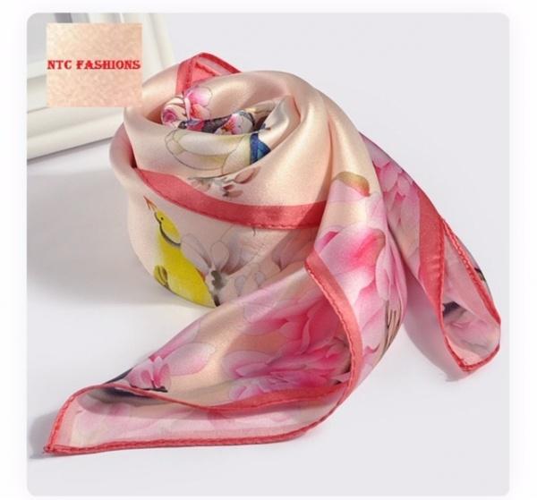 Summer women turkish printed silk crepe satin hijab scarf shawl