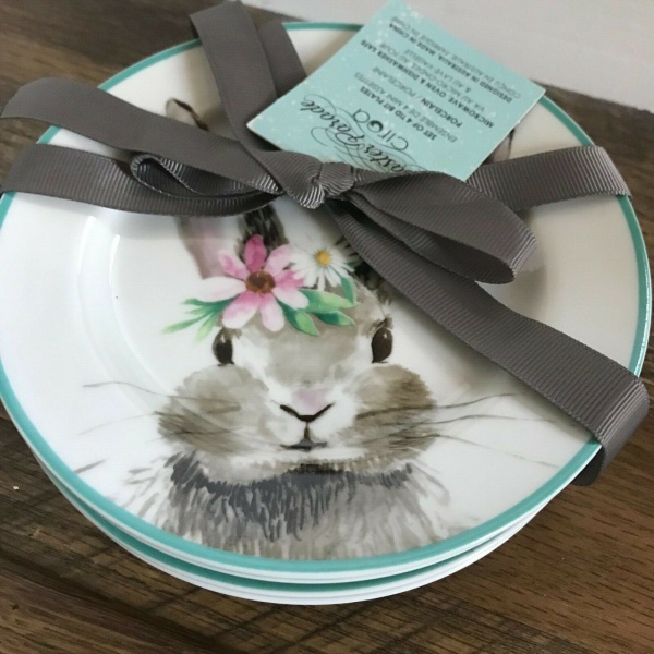 Ciroa Bunny Rabbit with Pink Flower Appetizer Plates Set 4 ~NEW