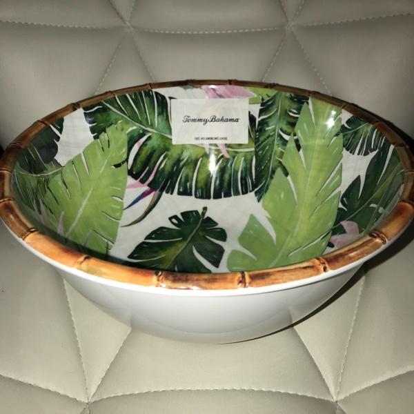 Tommy Bahama Paradise Palm Bamboo Green Large Serving Bowl Melamine ~NEW ~