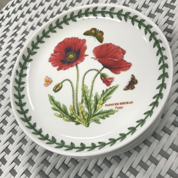 (10) Portmeirion Papaver Rhoeas Poppy Coupe Plates 6 3/4
