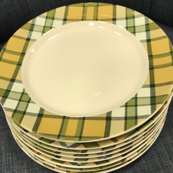 (4) Spode Glen Lodge Tartan Tan Christmas Dessert Plates ~NEW ~
