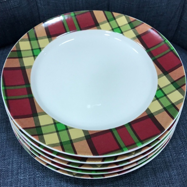 (5) Spode Glen Lodge Tartan Red Christmas Dessert Plates ~NEW ~