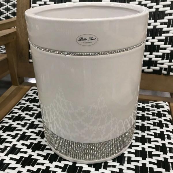 Bella Lux Bathroom Rhinestone Crystal White Ceramic Trash Can~New~