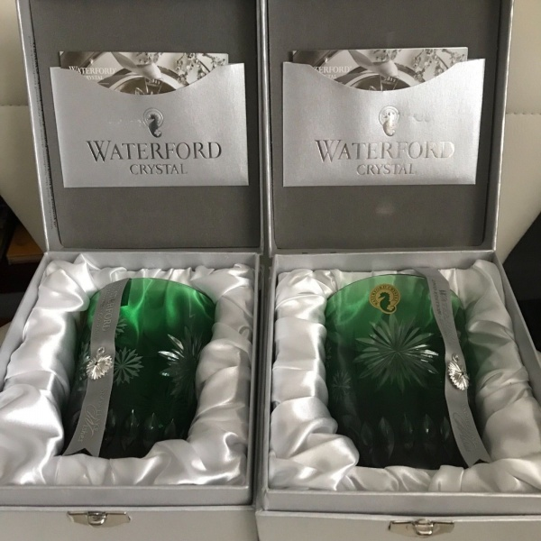 Waterford Snowflake Wishes EMERALD DOF Lead Crystal Glass Set 2 ~NEW ~