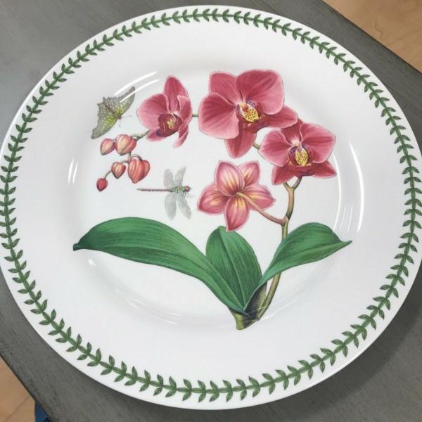 (4) Portmeirion Botanic Garden Floral Orchid Pink Dinner Plates Melamine ~NEW ~