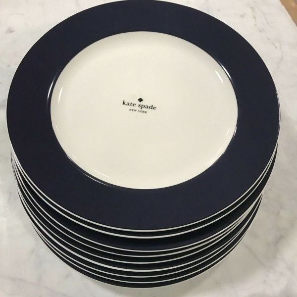 (9) Kate Spade Lenox Rutherford Circle NAVY Dinner Plates 11.2 in. ~NEW ~