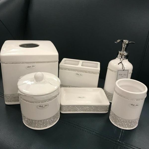 Bella Lux Bathroom Accessory Crystal Rhinestone Set 6 ~New~