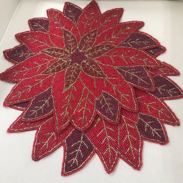 Nicole Miller Christmas Poinsettia Beaded Platemat Charger Set of 2 ~NEW ~