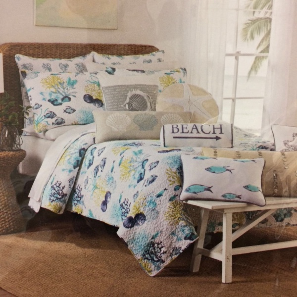~New~ Nicole Miller Sea Life Aqua Green Blue White King Quilt Standard Shams S/3