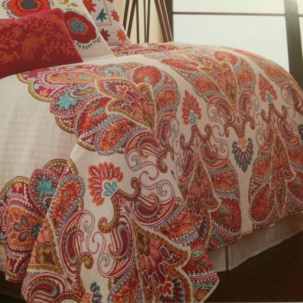 Moroccan Medallion Paisley Floral Aqua Orange Red White King Quilt Set 3 ~New~