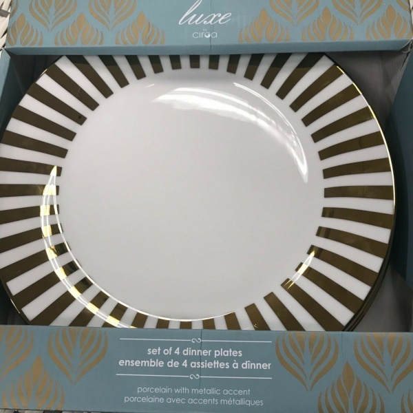 Ciroa Luxe Metallic Gold Stripe Dinner Accent Plates Set 4~NEW ~