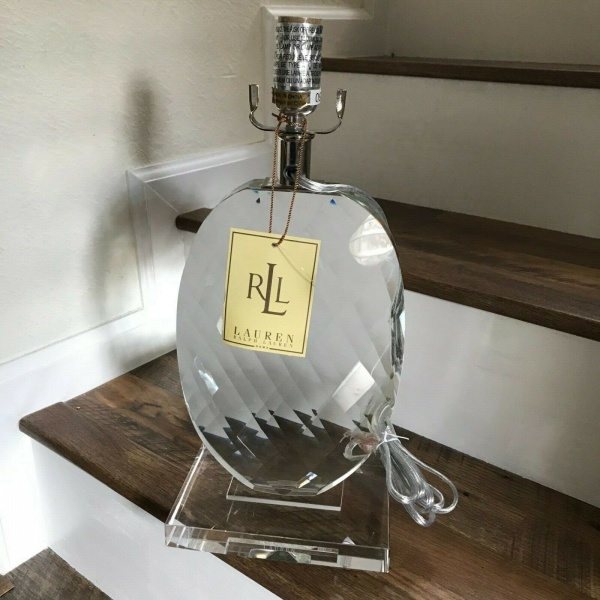 Ralph Lauren Crystal Glass Clear Oval Pineapple Table Lamp ~NEW ~