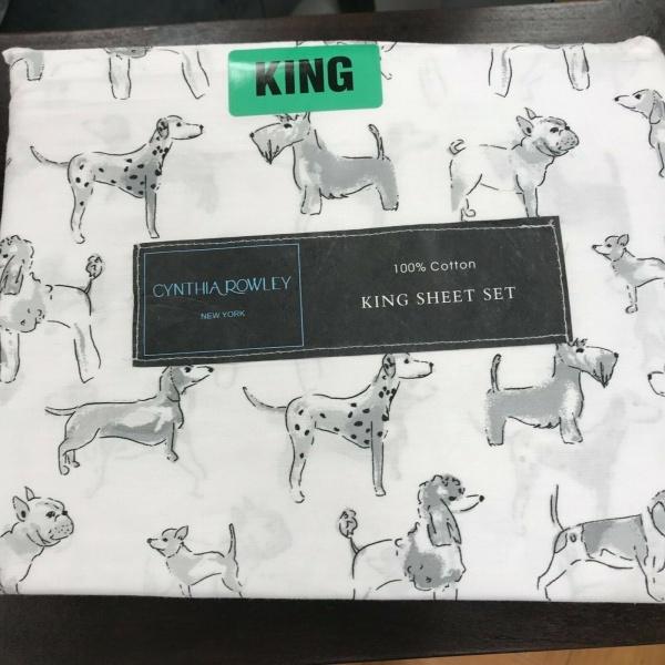 Cynthia Rowley Black Grey White Puppy Dogs King Sheet Set 4 ~New~