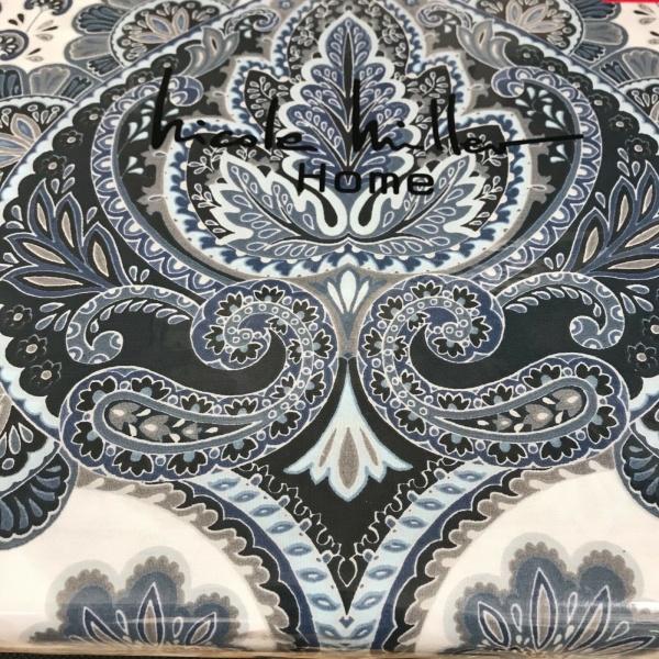 Nicole Miller Medallion Floral Blue Gray Black White King Duvet Set 3 ~New ~