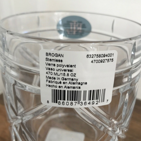 Ralph Lauren Brogan Fine Lead Crystal Stemiess Germany Wine Glasses Set 4~NWT~