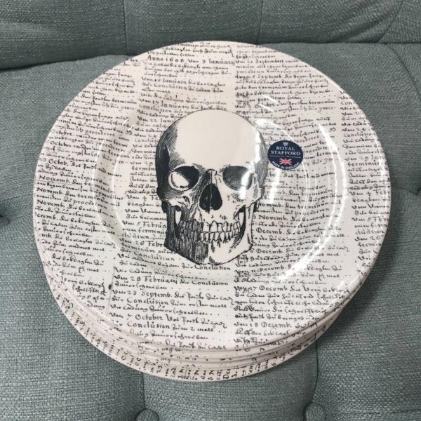 (6) Royal Stafford Skull Scripts Halloween Salad Plates 8.5 in. ~NEW ~
