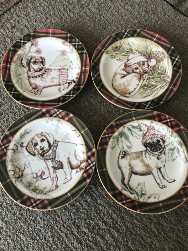 222 fifth Wexford Puppy Dogs Christmas Appetizer Fruits Plate Set 4~NEW ~