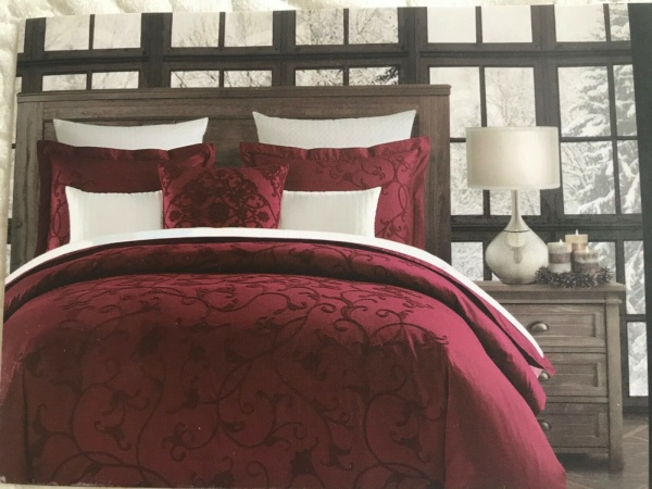 Tahari Rich Embroidery Floral Red King Duvet Set 3 ~New ~