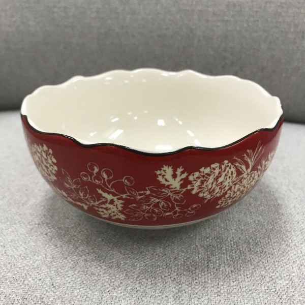 222 fifth Andover Christmas Red Rice Soup Bowls Set 4 ~NEW ~