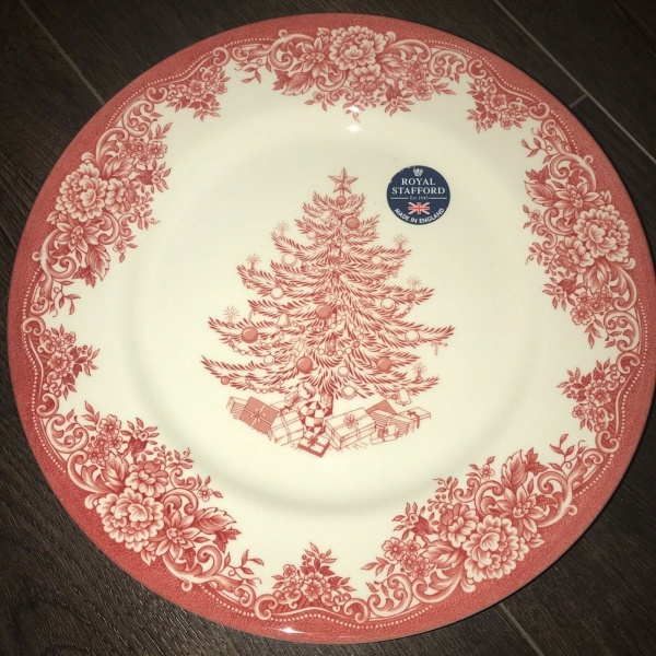 (4) Royal Stafford Christmas Tree Red Holidays Dinner Plates 11 in. ~New ~