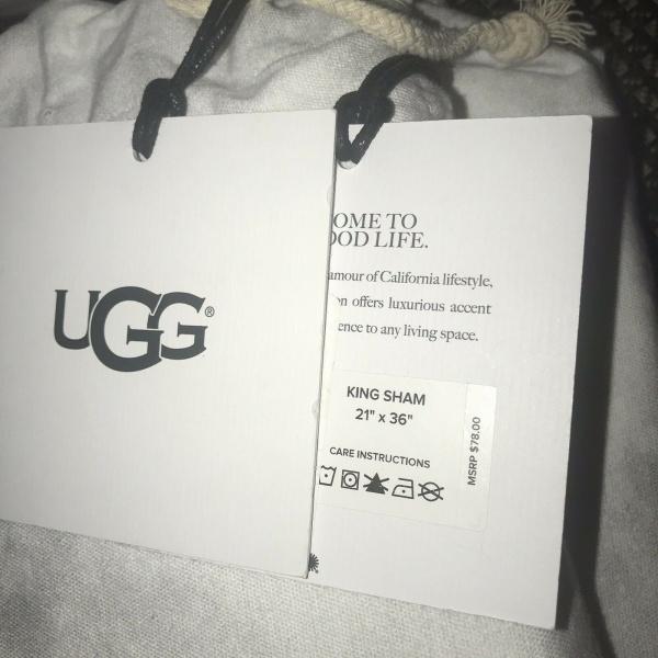 UGG Palisades Snow Off-White King Duvet Shams Set 3 ~New~