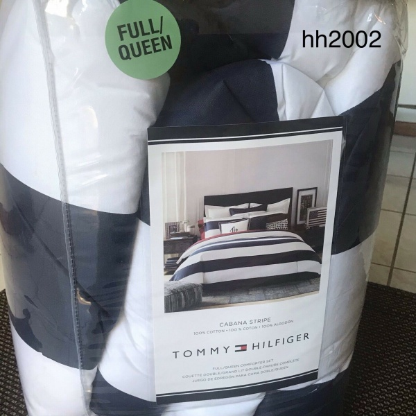Tommy Hilfiger CABANA STRIPE Navy Blue White F/Queen Comforter Shams Set 3 ~New~