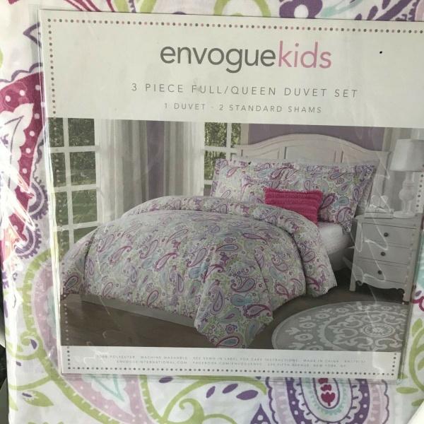 Envogue kids Paisley Floral Purple Green Burgundy Aqua F/Queen Duvet Set ~New~