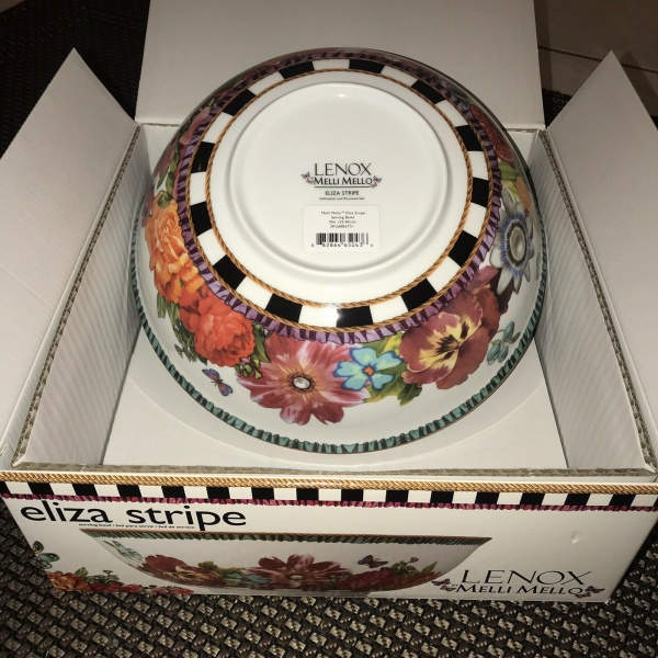 Lenox Melli Mello Eliza Stripe Serving Bowl 10 in.~Brand New w/box~