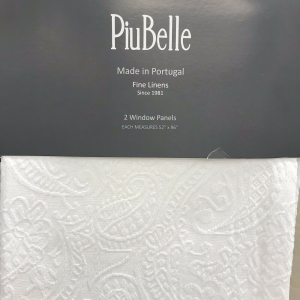 PiuBelle Paisley Floral White Window Panel Pair 52 x 96 in.~NEW~